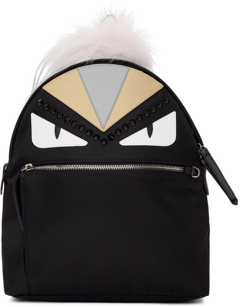 Black Mini Bag Bugs Zaino Backpack Fendi j7Z1SCxY