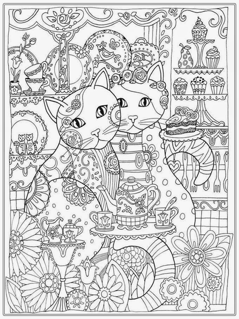 Couple Cat Adult Coloring Pages Free Rh Com For