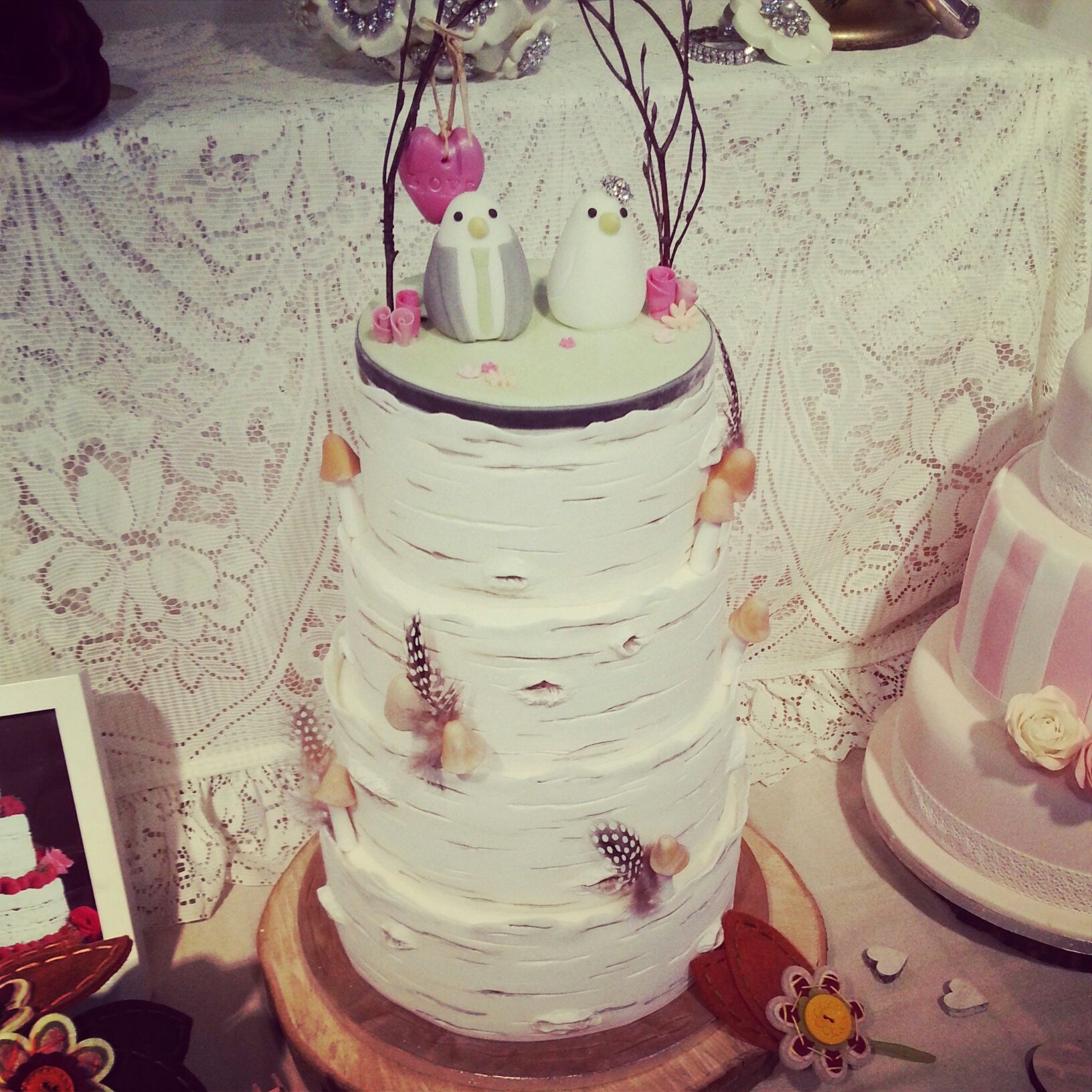 Woodland themed Wedding Cake... Quirky love bird Topper ... Rustic ...