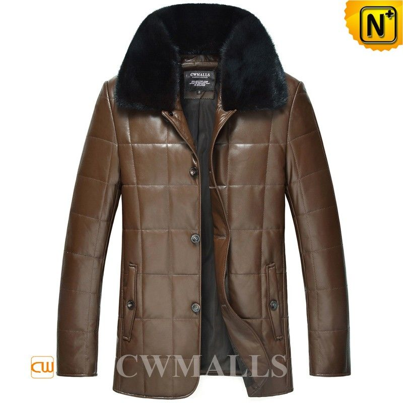 237917b41f6 CWMALLS Mens Fur Collar Down Jackets CW846060 Winter down padded fur  leather jackets for men