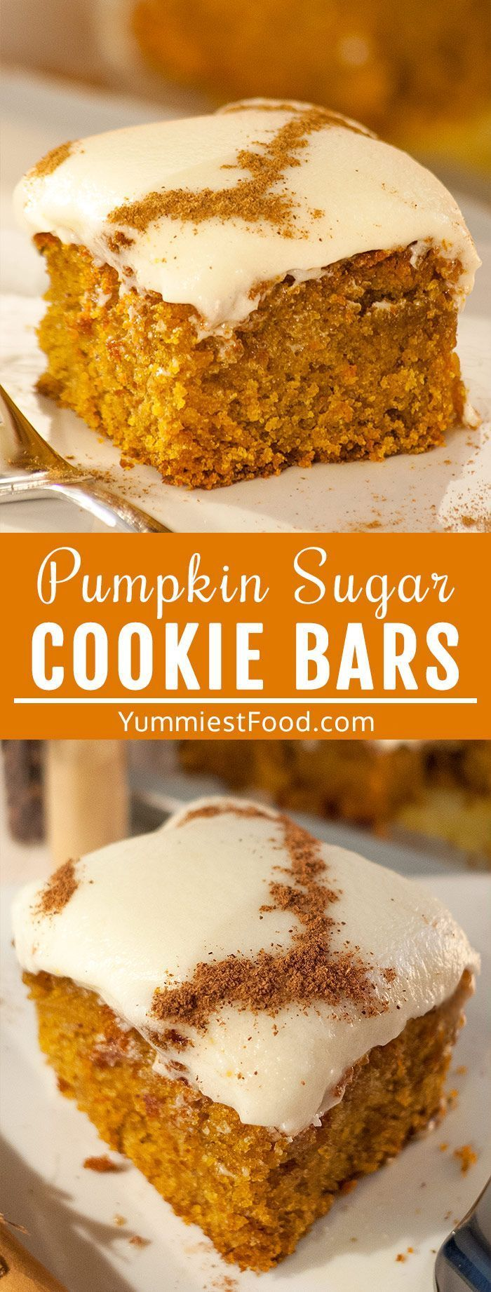 Pumpkin Sugar Cookie Bars with Cream Cheese Frosting