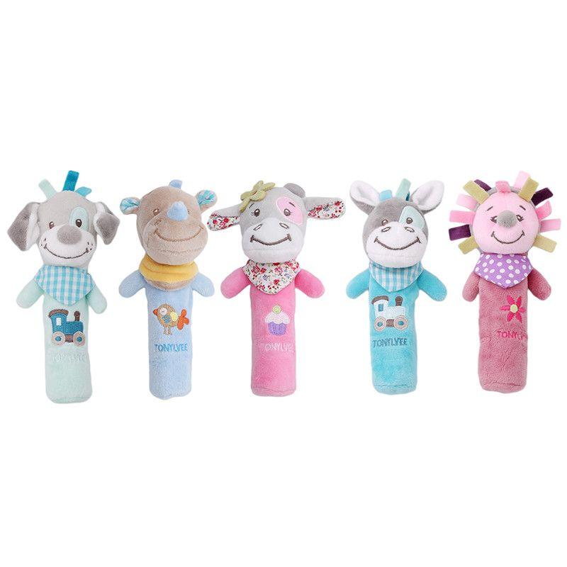 Puppet handbell Animal Hand Bells Baby Cartoon Rattles Stuffed Bar Sticks