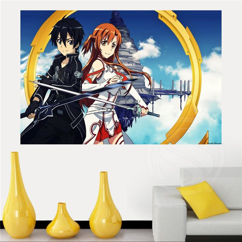 Custom sword art online anime poster home decor free shipping poster print more size wall sticker