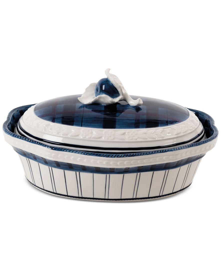 Fitz and Floyd Earthenware Bristol Covered Serving Dish