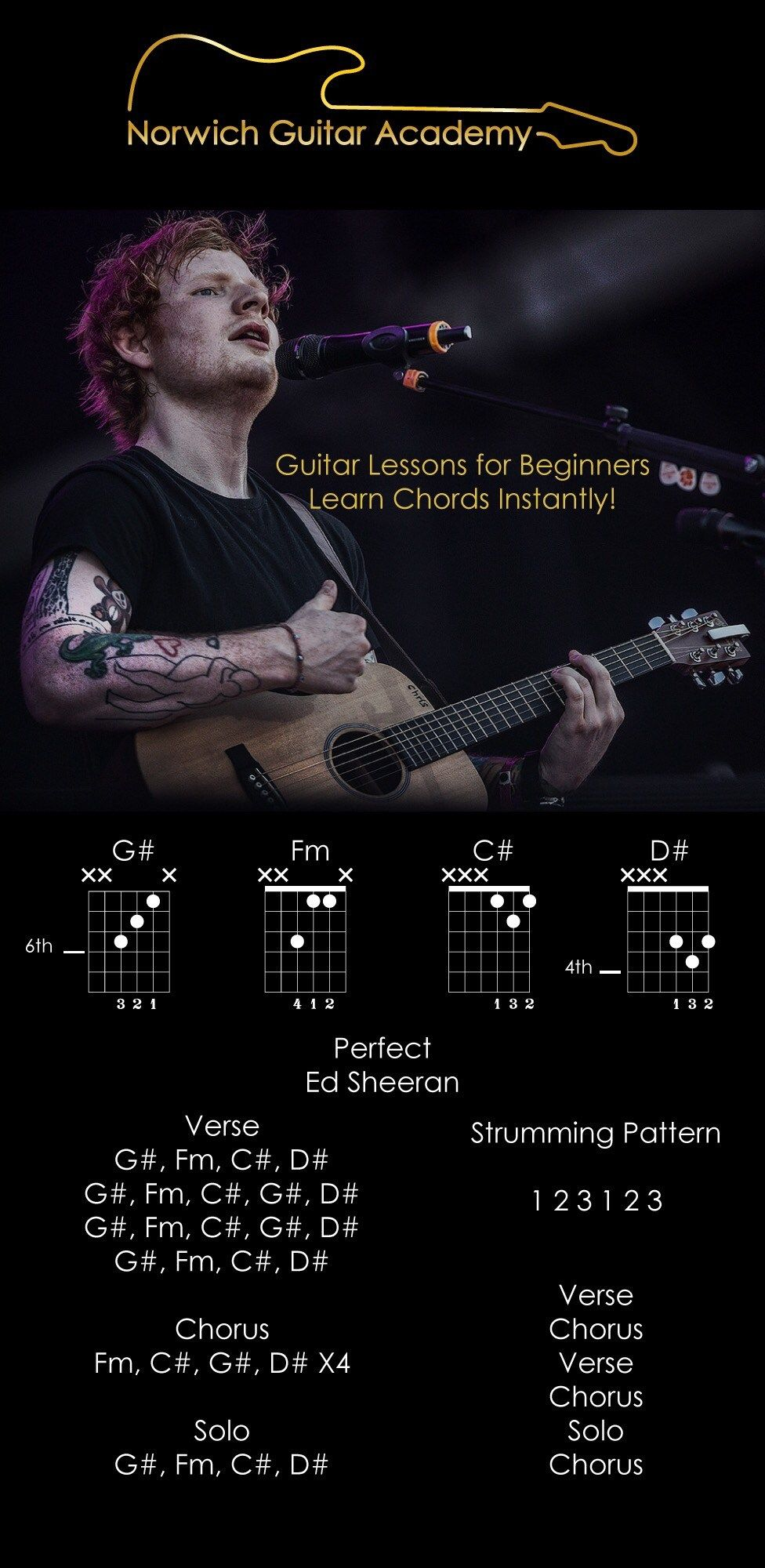 Perfect Ed Sheeran Chords Beginner Guitar Lesson Lyrics Music How To Read Chord Diagrams Learn Play Easy