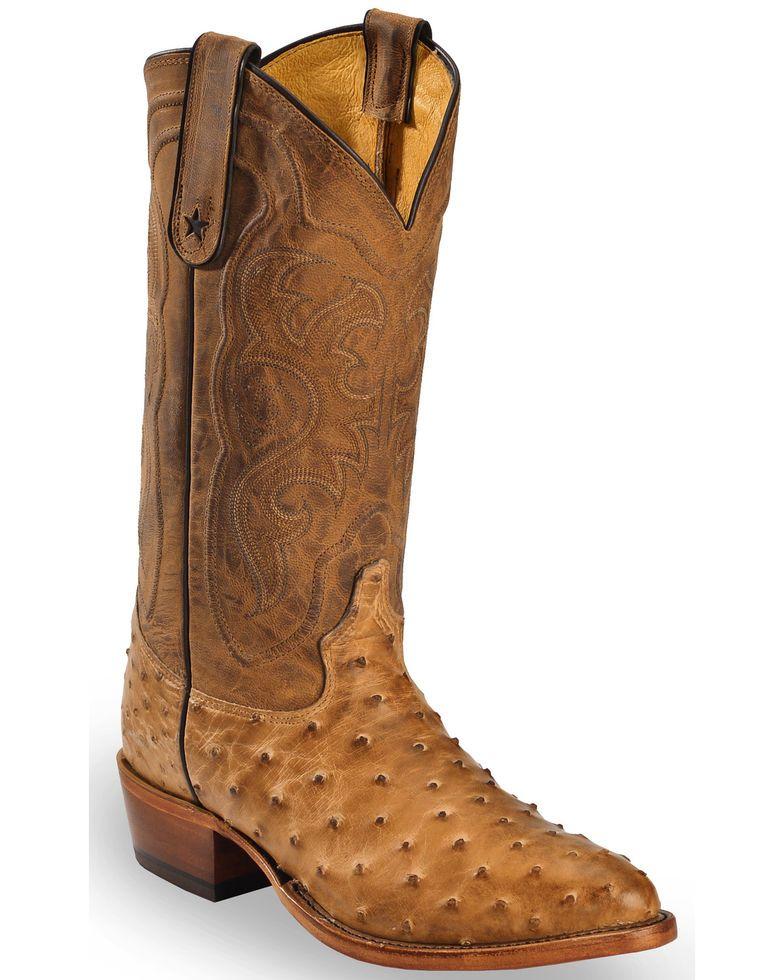 3abc72aa50e Tony Lama Men's Durmont Tan Full Quill Ostrich Cowboy Boots - Medium ...