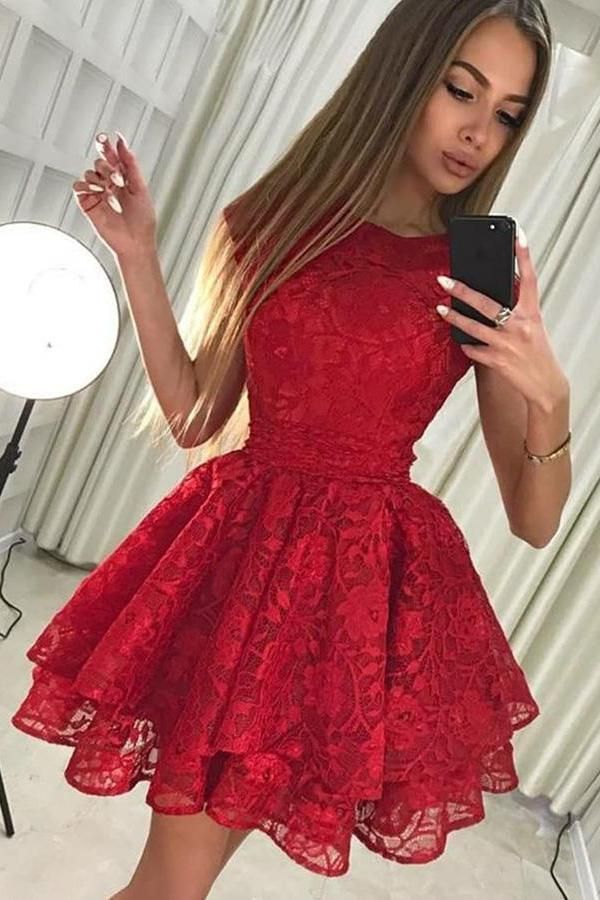 ec5c646e6c Beautiful Red Tight Lace Short Homecoming Dresses Prom Dresses For Teens  Z1258