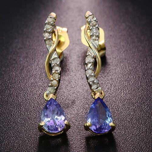 SPLENDID ! 3/4 CARAT TANZANITE & (18 PCS) DIAMOND 10KT SOLID GOLD EARRINGS