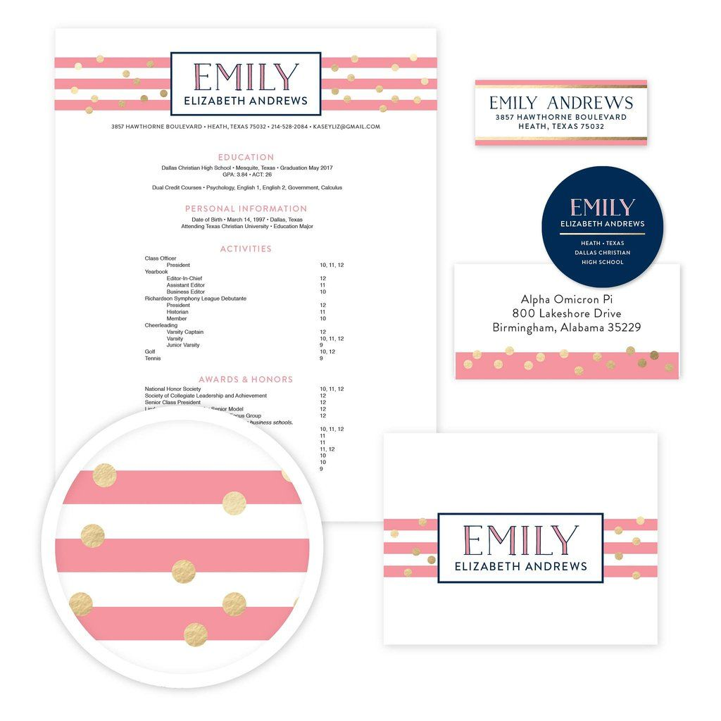 Confetti Stripes Sorority Packet
