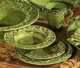 Handcrafted in Italy with a warm green hued glaze and an intricate border design. This earthenware comes in a set with four four-piece place settings. & Pin by Hellen Rose on My Style: Kitchen | Pinterest | Kitchens
