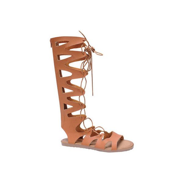 Women's Beston Foxy-01 Gladiator Sandal - Tan Faux Leather Casual ($37) ❤ liked on Polyvore featuring shoes, sandals, casual, casual footwear, tan, tan gladiator sandals, lace-up sandals, low gladiator sandals, flat shoes and lace up flats