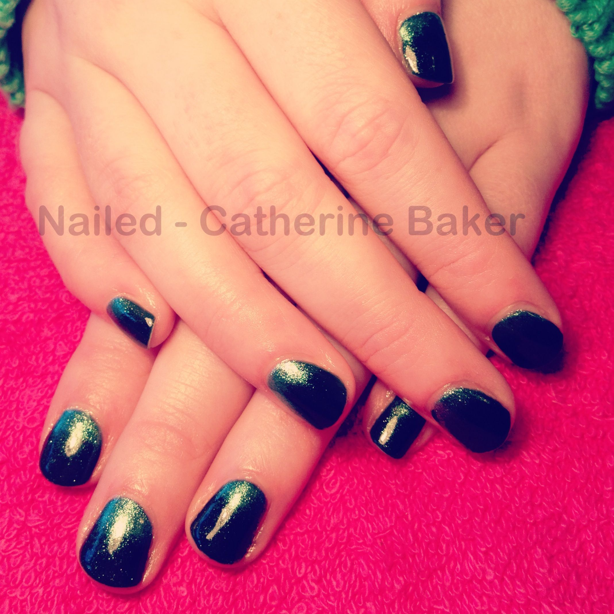 CND Shellac Pretty Poison with CND Green Gold Sparkle Additive #cnd ...