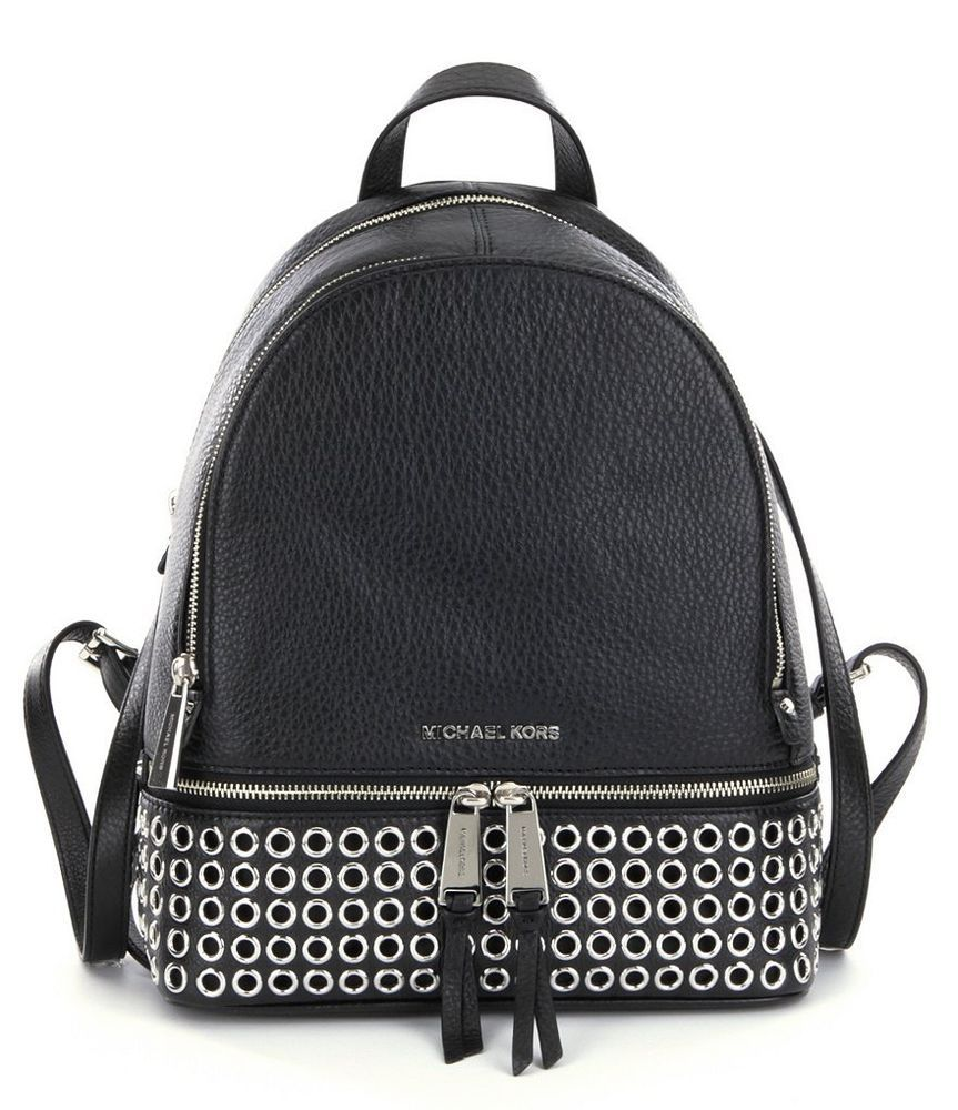 d1d2a2db23fd MICHAEL Michael Kors Black Rhea Medium Grommet Backpack Bag New NWT # MichaelKors #Backpack
