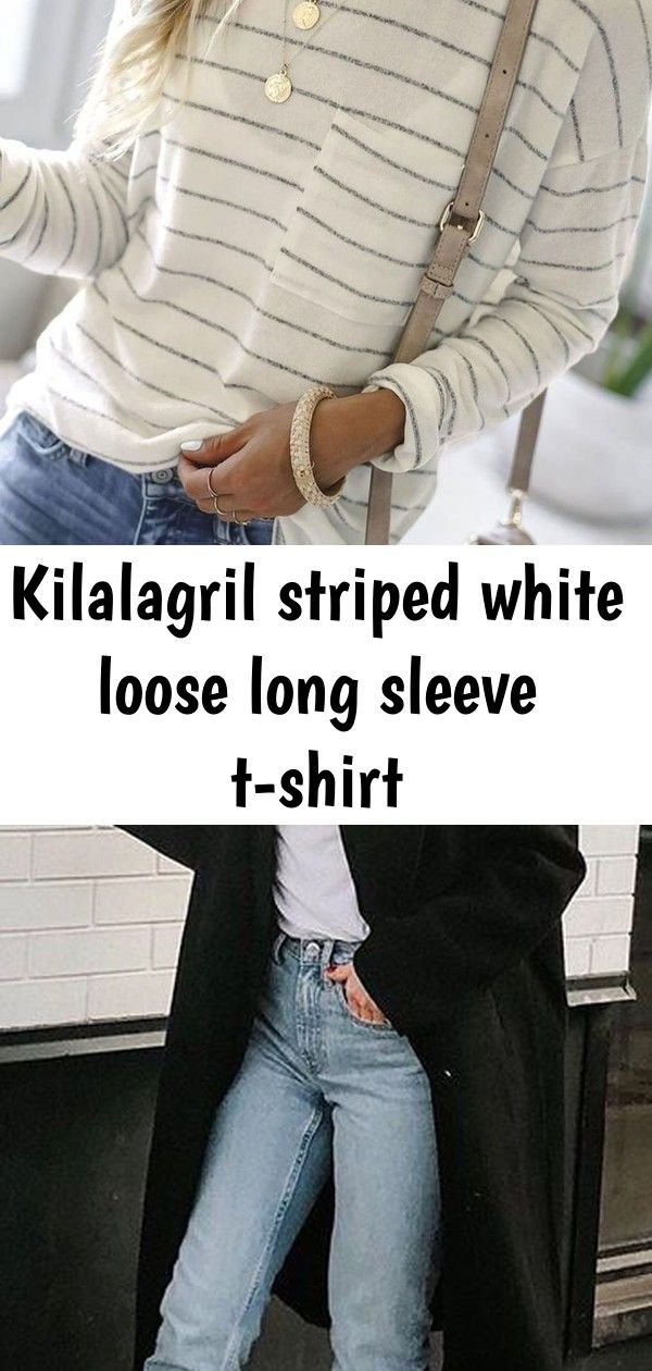 Kilalagril striped white loose long sleeve tshirt Striped White Loose Long Sleeve Tshirt 45 Winter Outfits to Shop Now Vol 5  55  How To Wear White Vest Cute Outfits 17 B...
