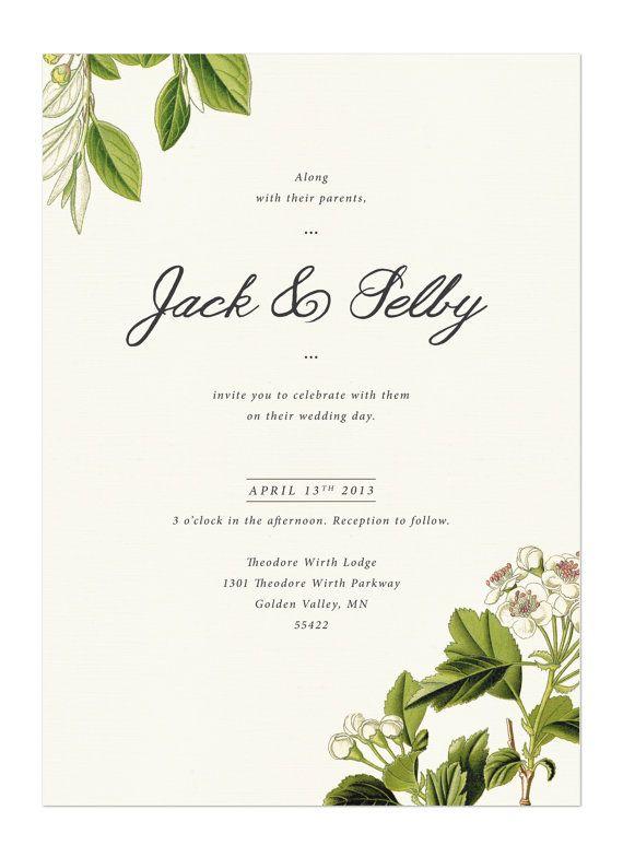 flora invite vintage botanical wedding suite by. Black Bedroom Furniture Sets. Home Design Ideas