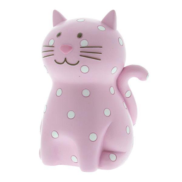 Kiddiwinks Resin Money Box Pink Dotty Cat