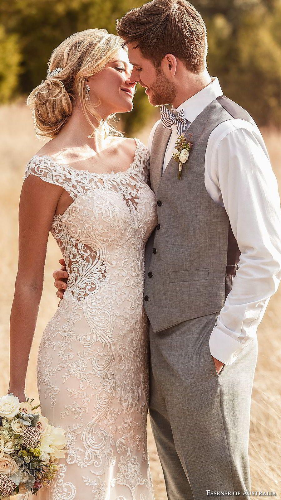 9c22e7a1f4 essense australia fall 2017 bridal cap sleeves illusion bateau sweetheart  neckline full embellishment elegant blush color sheath wedding dress  covered lace ...