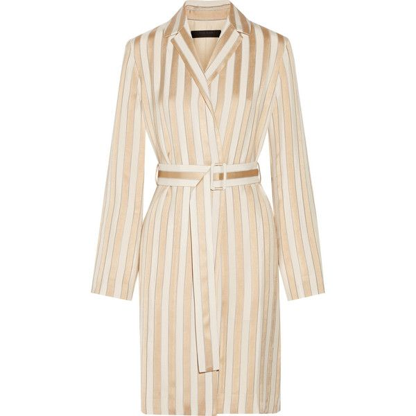 The Row Stervis belted striped jacquard coat (124.075 RUB) ❤ liked on Polyvore featuring outerwear, coats, dresses, coats & jackets, jackets, stripe coat, striped coat, jacquard coat, drape coat and pink coat
