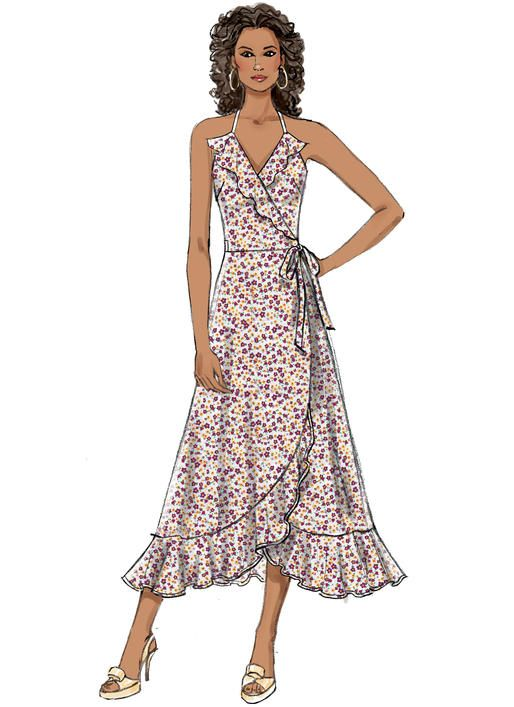 Butterick B6554 Misses\' Wrap Dresses #sewingpattern #wrapfashion ...