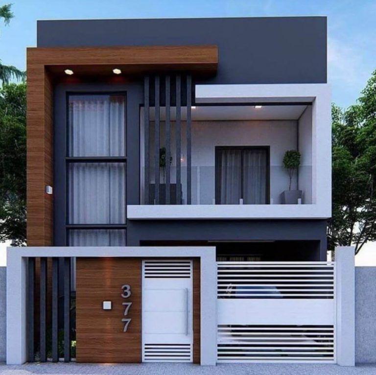 Fachadas de casas de dos pisos con techos planos -