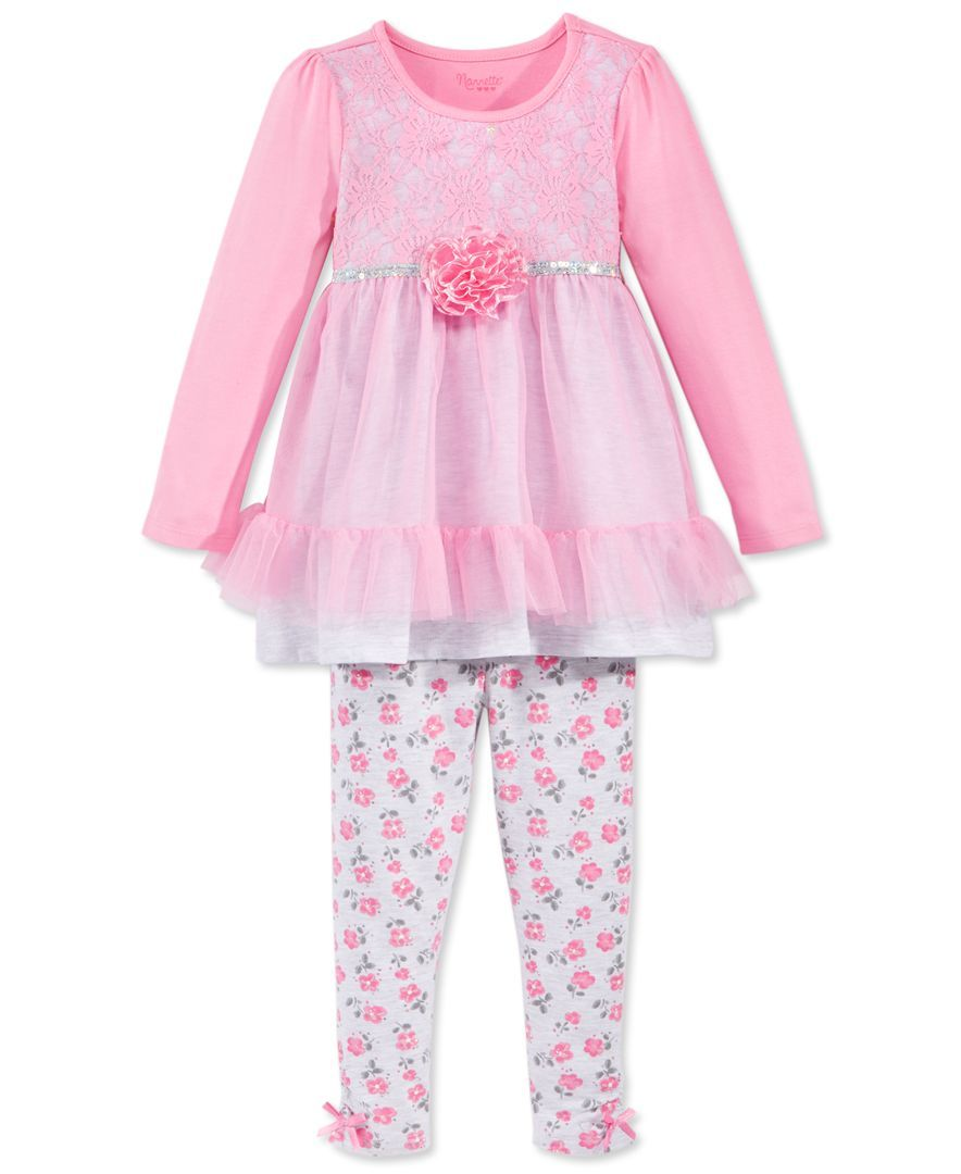 Nannette Little Girls Bow Legging Set