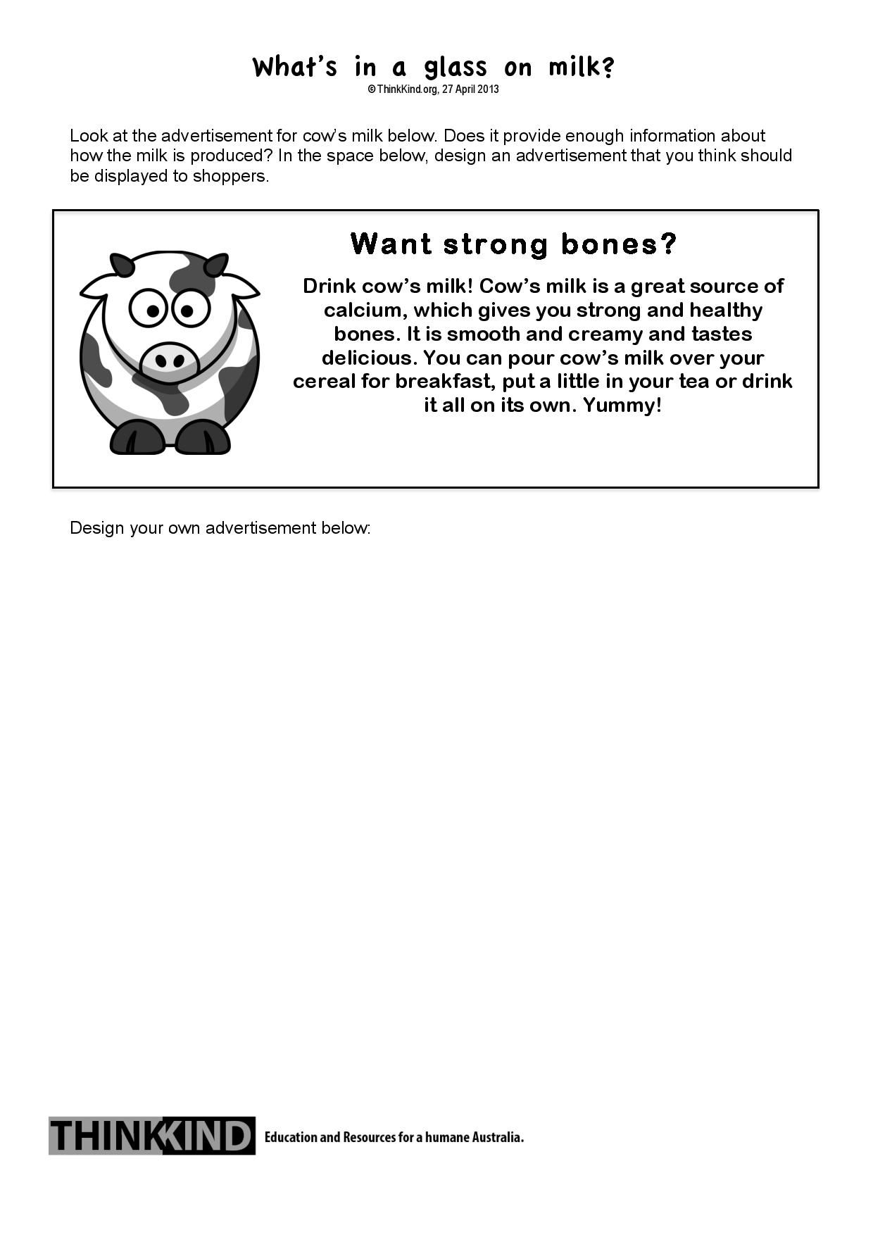 What S In A Glass Of Milk Years 5 6 Worksheet Follow