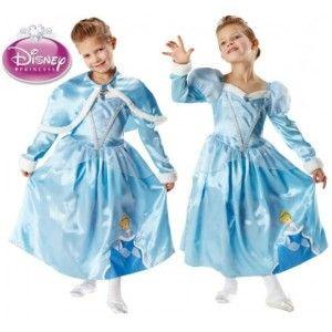 0fc81917da19 Déguisement cendrillon Disney princess luxe cinderella winter wonderland  enfant avec capeline sous licence Disney.