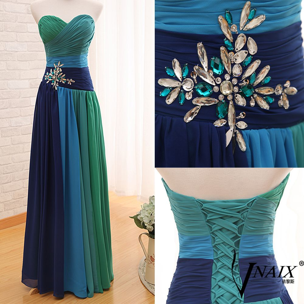 P2050 Vniax Free Shipping Graceful Sweetheart Strapless Crystal Beaded Two Tone Flowy Chiffon Color Combination Prom