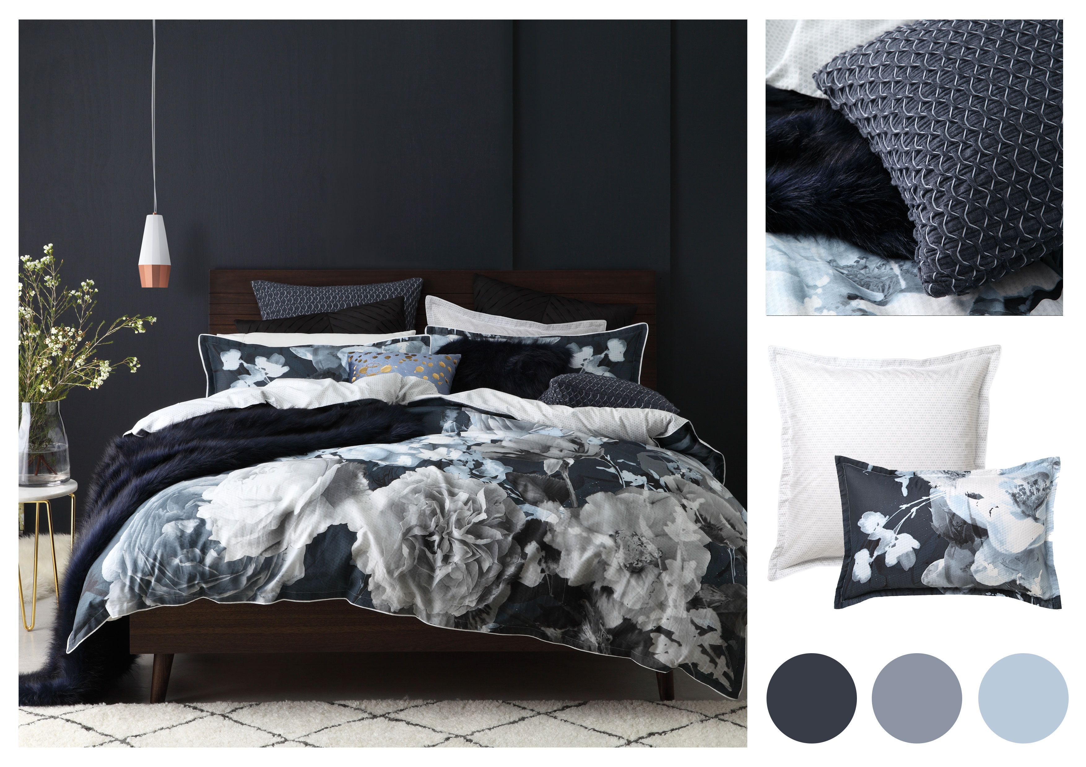 Introducing The Tess Charcoal Duvet Cover Set By Logan And Mason This Duvet Cover Set Features Large Muted Floral Arr Duvet Cover Sets Duvet Sets Duvet Covers