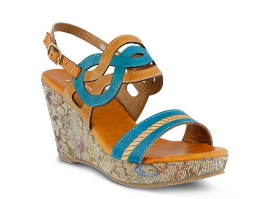 00ae737286 Women's L' Artiste by Spring Step Sharina Wedge Sandal - Cognac/Turquoise
