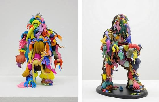 Known for his found-object assemblages, Teppei Kaneuji uses plastic toys, scissors, helmets, and in this case, removable hair, gluing them together in bizarrely fascinating and colorful arrangements.