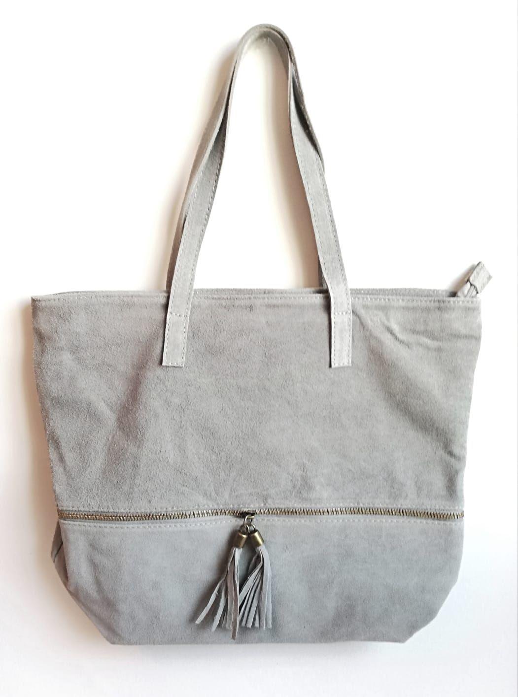 09a41d905 Bolso grande piel auténtica serraje gris con cremallera y pompones  tendencia complementos