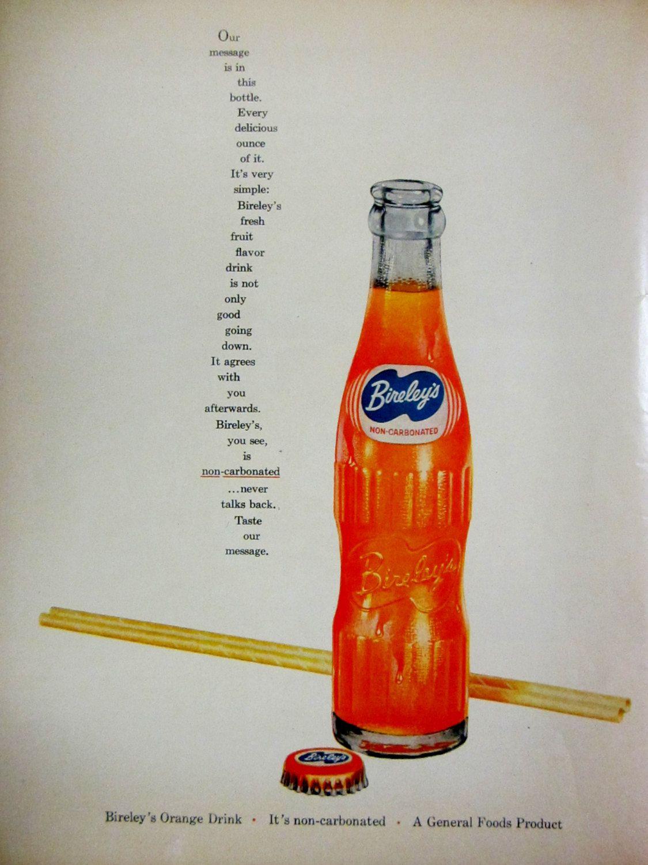 1955 bireley's orange drink vintage advertisement kitchen wall art