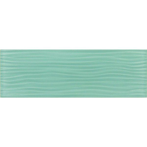 Soft Mint Green Wave 4 X 12 Glossy Glass Subway Tile