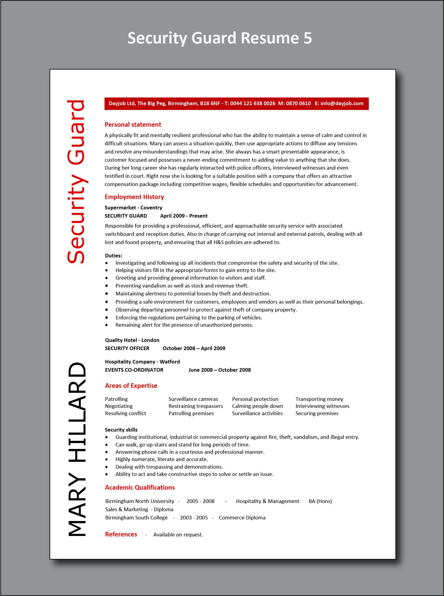 Security Guard Resume 5 Example Cv Sample Officer