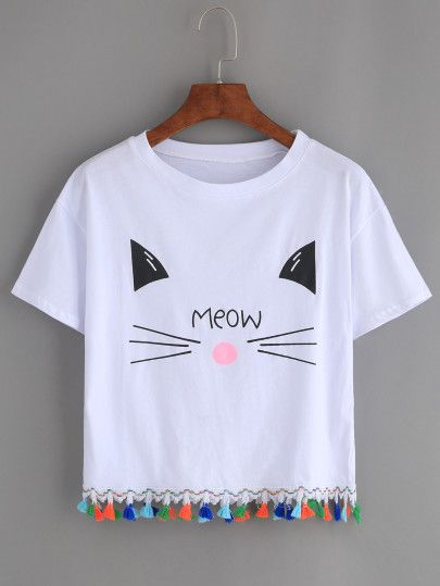 White Cat Print Tassel Trim T-shirt   T-Shirts   Pinterest   Shirts ... 8060e6a929