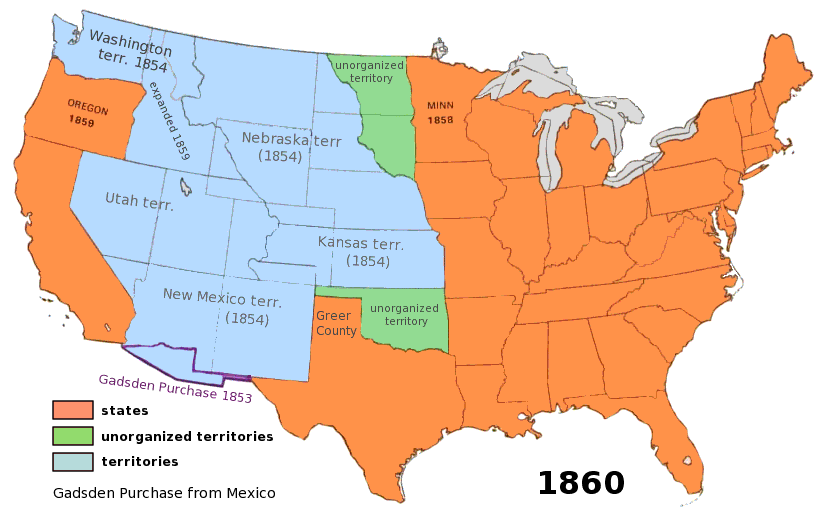 Us Territory History Museum USA S Pinterest - Map of us territories 1860
