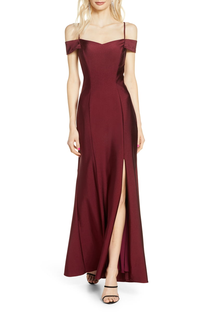 Morgan Co Cold Shoulder Satin Trumpet Gown Nordstrom Fashion Clothes Women Dresses Nordstrom Dresses [ 1196 x 780 Pixel ]