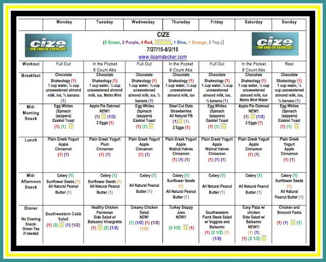 Cize  Week  Workouts And Meal Plan  Meal Planning And