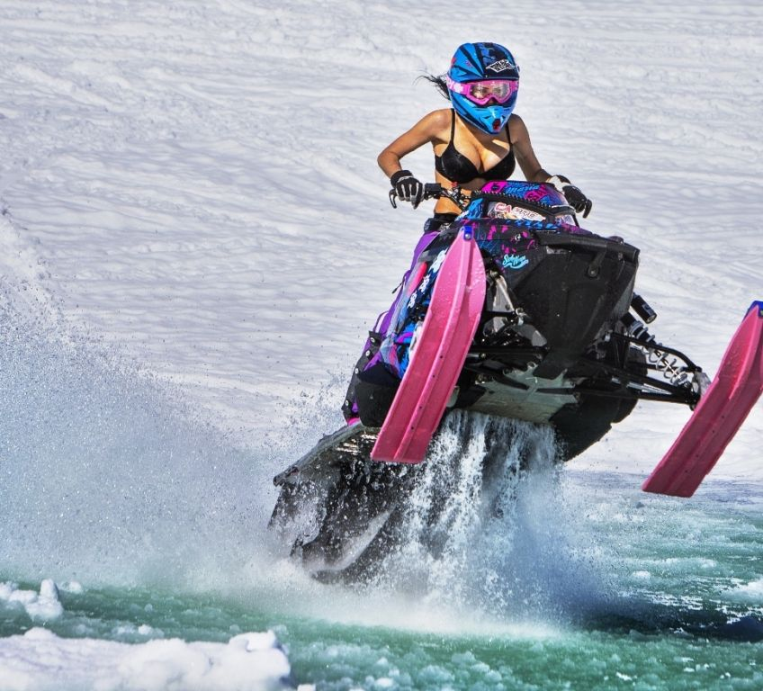 hot and naked on snowmobiles
