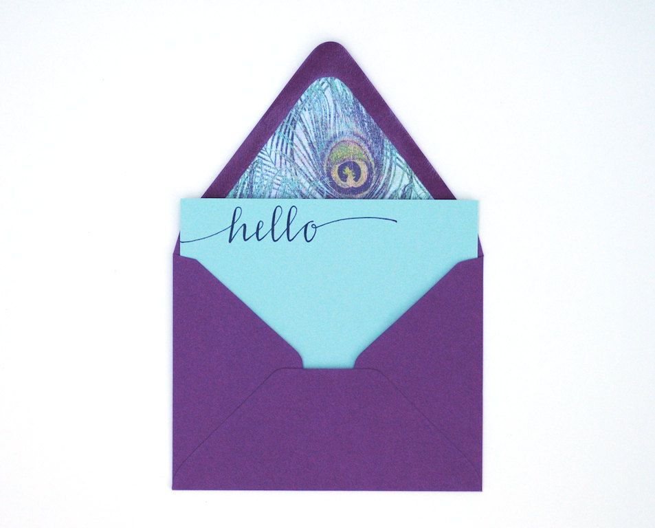 Peacock Feather Stationery . Handwritten Hello. via Etsy.