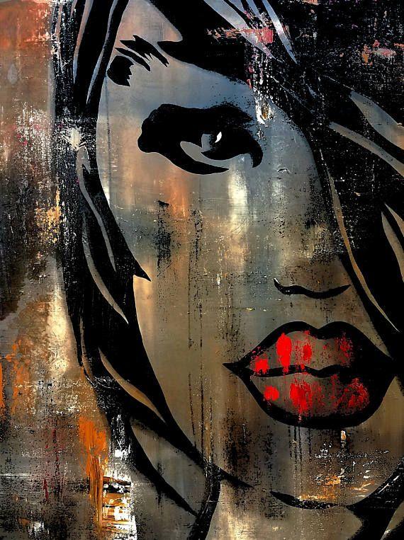 Abstract Painting Modern Original Pop Art Contemporary Woman