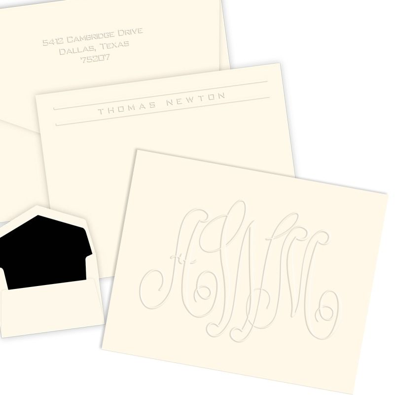 stationeryxpresscom personalized embossed stationery gifts made in america - Personalized Embossed Note Cards