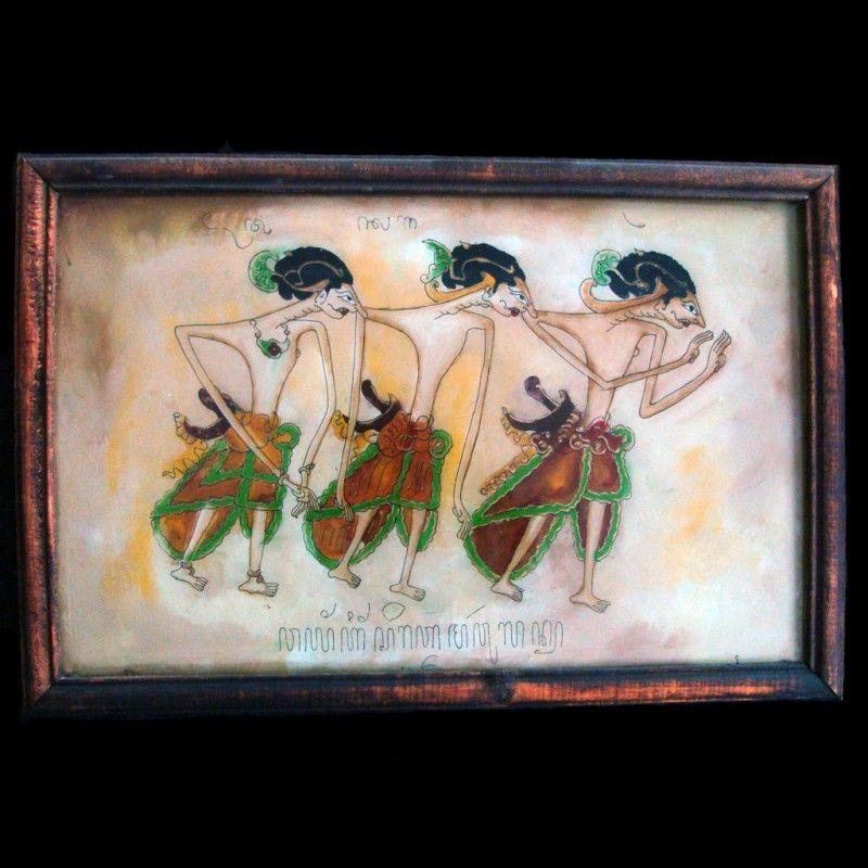 Peinture ethnographique inversée sur verre Wayang Kulit, école de