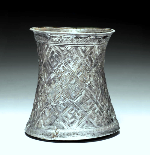 Silver Beaker from Marlik - Iran, circa late 2nd Millennium BC. by:‏Virtual Museum of Iran Art / موزه مجازی هنر ایران‏ (page on facebook).