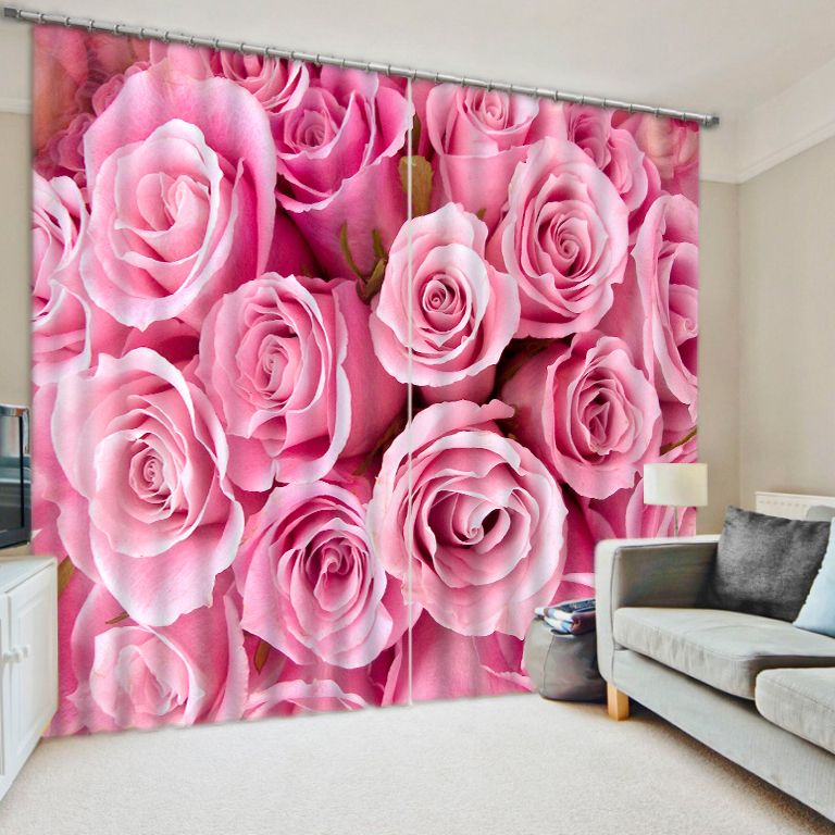 Rose Modern Luxury 3D Window Curtains Drapes For Women Bed room ...