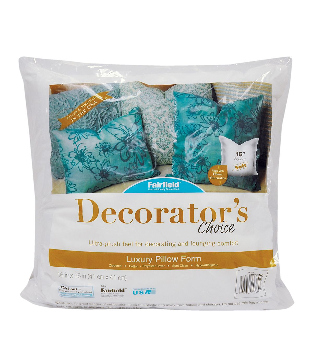 "Walmart Pillow Inserts Beauteous Fairfield Decorator's Choice Pillow 16"" X 16""  Sewing Supplies"