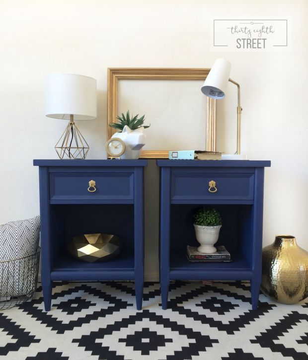 Blue Nightstands, Gold Accents