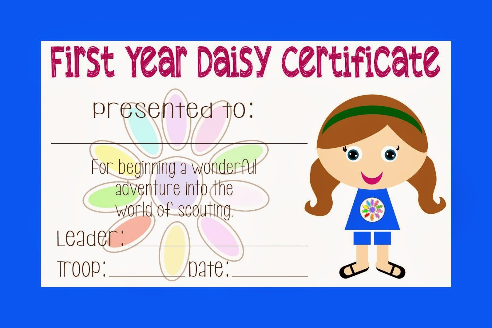 Girl Scout Daisy Certificate With Images
