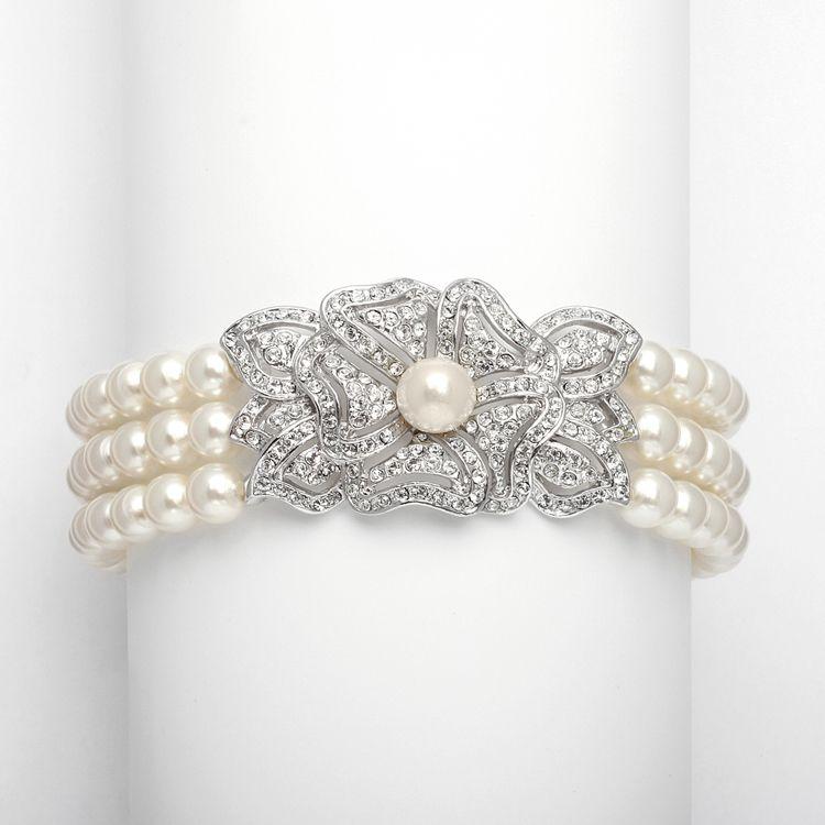Mariell Pearl and CZ Wedding Bracelet 3826B - lovely! affordableelegancebridal.com